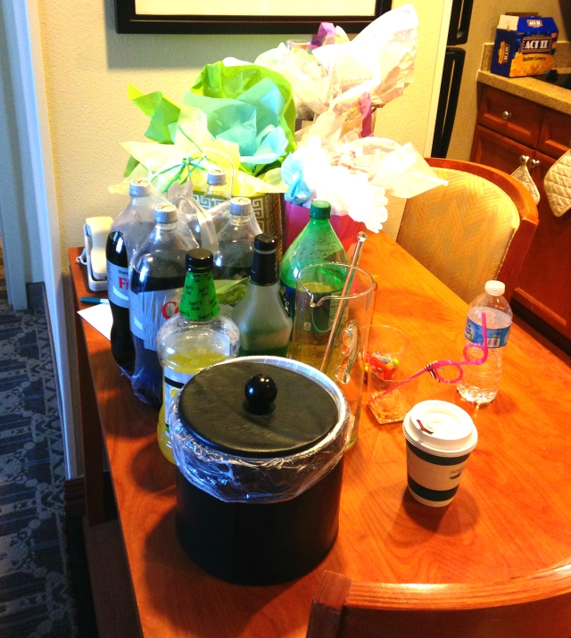 This was taken Saturday morning. We did our best party girl impression and left everything a mess like this all night. I made Midori Sours for everyone complete with cherries and fun silly straws and cocktail glasses.
