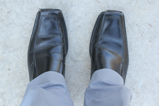 "Shoes: Madden (I promise he has other dress shoes, these are juts his favorite because they're ""the most comfortable."")"