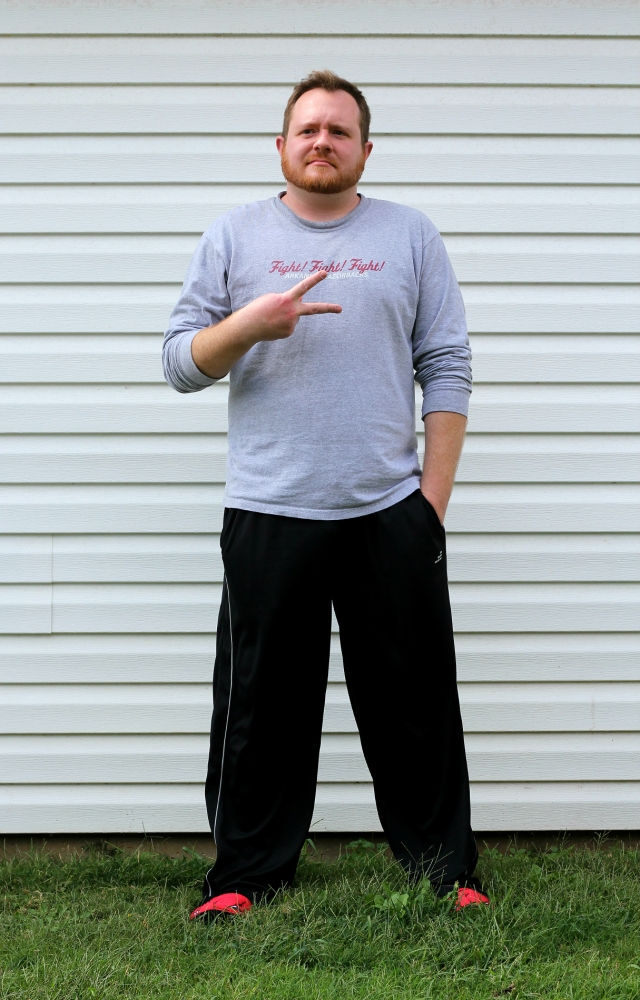 T-shirt: Razorback Football|Sweatpants: Addidas Such a refined fashion day.