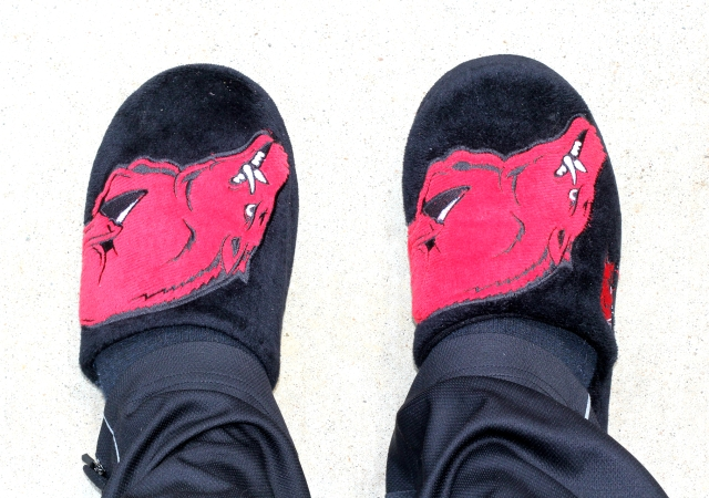 Slippers: Razorbacks (the brand is a crap-shoot as these are like 5 years old)