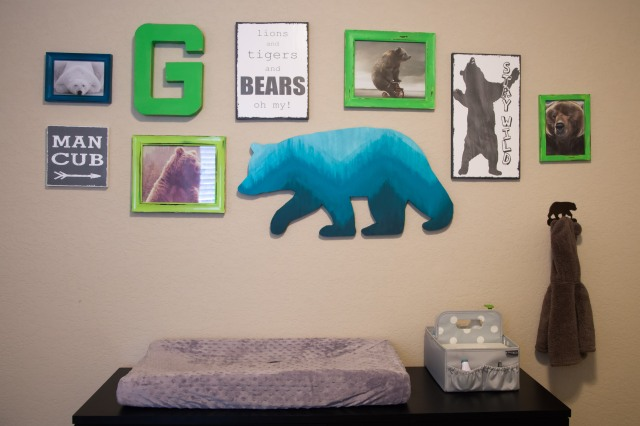 This is the coolest wall in the room. Rachel made everything on it (save for the coat hook). That ombre bear cutout? Good gosh she's good.